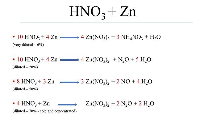 HNO3 + Zn
