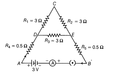 five resistors are connected in a circuit as shown in figure