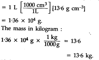 Calculate the mass of one litre of mercury in grams and kilograms if