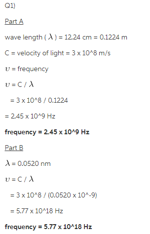 Calculate The Frequency Of Each Of The Following Wave