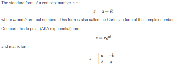 What Is The Standard Form Of A Complex Number Home Work Help