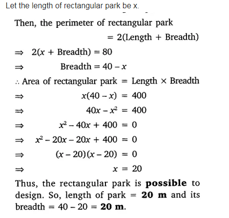 Is it possible to design a rectangular park of perimeter 80