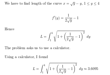 Solved: set up an integral that represents the arc length.