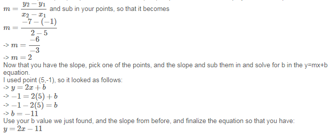 Write An Equation In Slope Intercept Form For The Line That Passes
