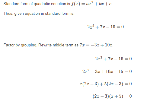 Write The Equation In Standard Form Then Factor The Left Side Of