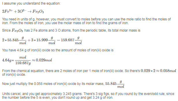 How Much Iron Is Present In 464 G Of Ironiii Oxide Answer In