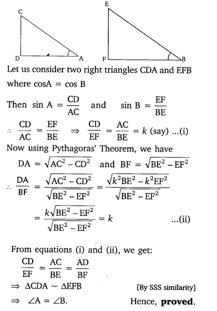 If ∠A and ∠B are acute angles such that cos A = cos B