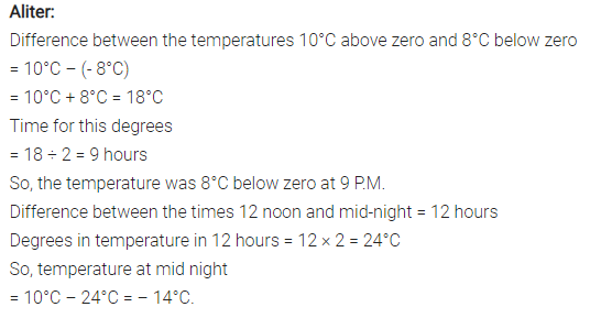 The temperature at 12 noon was 10°C above zero  If it decreases