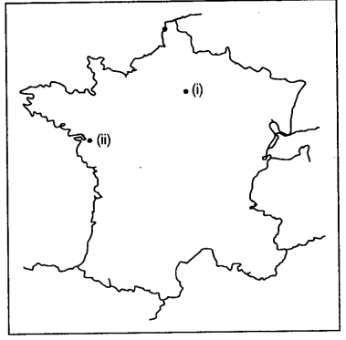 Outline Of Map Of France.Two Items 1 And 2 Are Shown In The Given Outline Map Of France