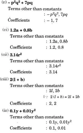 Identify The Numerical Coefficients Of Terms Other Than Constants In The Following Expressions Cbse Class 7 Maths Learn Cbse Forum