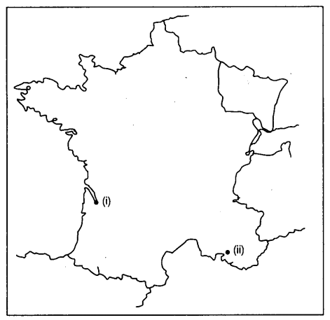 Outline Of Map Of France.Two Items I And Ii Are Shown In The Given Outline Map Of France