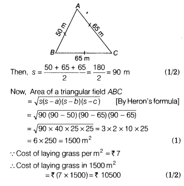 Find cost of laying grass in a triangular field of sides 50m